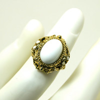 Adjustable Ring Vintage Victorian Style White Oval Cabochon Center