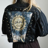 Celestial Sun Reworked Denim Jacket by Noctex on Etsy