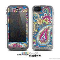 The Suble Blue & Yellow Paisley Pattern Skin for the Apple iPhone 5c LifeProof Case
