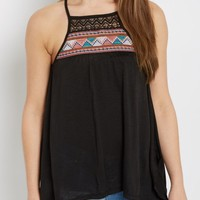Black Tribal Embroidered Sharkbite Tank Top | Going Out Tank Tops | rue21