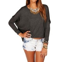 Charcoal Solid Dolman Top