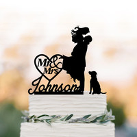 Personalized Wedding Cake topper with dog, Bride and groom silhouette with mr and mrs, 28 different dogs and silver mirror available