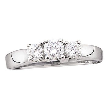 14kt White Gold Women's Round Diamond 3-stone Bridal Wedding Engagement Ring 3/4 Cttw - FREE Shipping (US/CAN)
