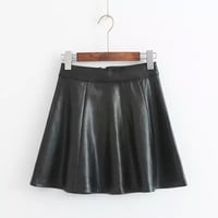 Strong Character Design Stylish High Rise PU Leather Dress Skirt Women's Fashion Umbrella [5013354052]