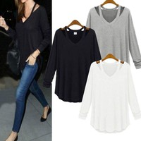 Oversized Women's V-neck Loose Shirt Blouse Tops Casual Long Sleeve T-Shirt Tops