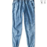 United XXVI Girls Acid Wash Denim Jogger Pants
