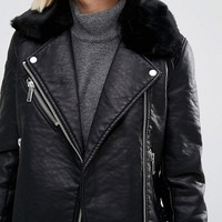 Warehouse Faux Fur Collar Leather Look Jacket at asos.com