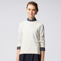 WOMEN COTTON CASHMERE CREWNECK SWEATER | UNIQLO