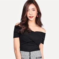 Highstreet Black Wrap Design Bardot Ribbed Off the Shoulder Pullovers Top Casual Women Modern Lady Tshirt Top