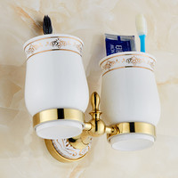 Solid Brass golden Finishing Square Double Cup Holder Toothbrush Holder Bathroom Accessories Product JR-505K
