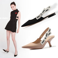 Embroidered Ribbon Pointed Toe Kitten Heel Sandal