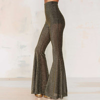 Gray High-Waist Flare Led Pants