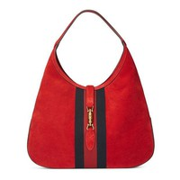 DCCKUG3 Gucci Red Soft Suede Web Stripe Jackie Shoulder Hobo Bag