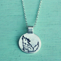 Little WOLF Necklace by boygirlparty - Howling Wolf Jewelry Wolf Charm, Silver Wolf Pendant