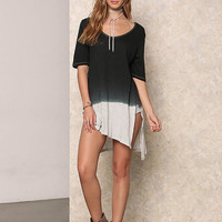 Black Color Block Slit Tunic Top