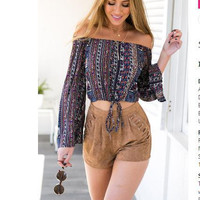 New Fashion Off Shoulder Corset Strappy Print Horn Sleeve Blouse