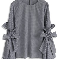 Gingham Charisma Top with Bell Sleeves