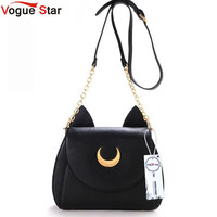 Vogue Star! 2016 Summer Limited Sailor Moon Bag Ladies Handbag Black White Cat Luna Moon Women Messenger Crossbody Bag YA40-67