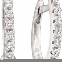 10kt White Gold Women's Round Diamond Hoop Earrings 1-12 Cttw - FREE Shipping (US/CAN)