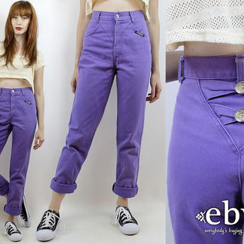 Vintage 80s Purple Southwestern High Waisted Jeans XS S 25 Mom Jeans Tapered Leg Jeans Purple Skinny Jeans Hipster Jeans Purple Jeans