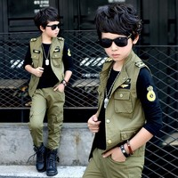 Spring big boys Khaki ArmyGreen clothing set 3pcs for children big kids Jacket T-shirt pant clothes for 6 8 10 12 14 16 years