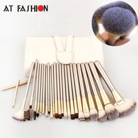 AT FASHION 24 pcs Makeup Brush Set Soft Taklon Hair Professional Cosmetic Kits Foundation Powder Blush Eyeliner Brushes Kit Tool