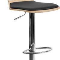 Beech Bentwood Adjustable Height Bar Stool with Black Vinyl Seat and Cutout Back