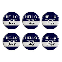 Jair Hello My Name Is Plastic Resin Button Set of 6