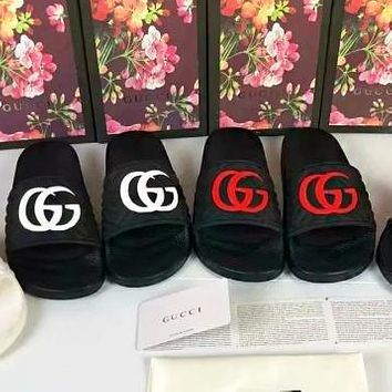 Gucci slippers Women Men print Flat Shoes Print Double G
