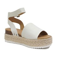 Soda Topic Off-White Espadrille Platform Sandals