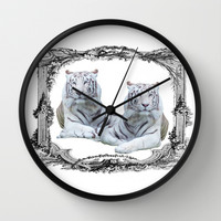 White Tigers Wall Clock by Haroulita