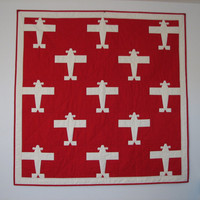 Airplane Quilt, Red and White