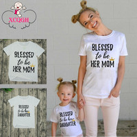 Mother And Daughter Clothes New Family Matching Outfits White Short Sleeve T-shirt Mommy And Me Clothes  Women Summer Clothes