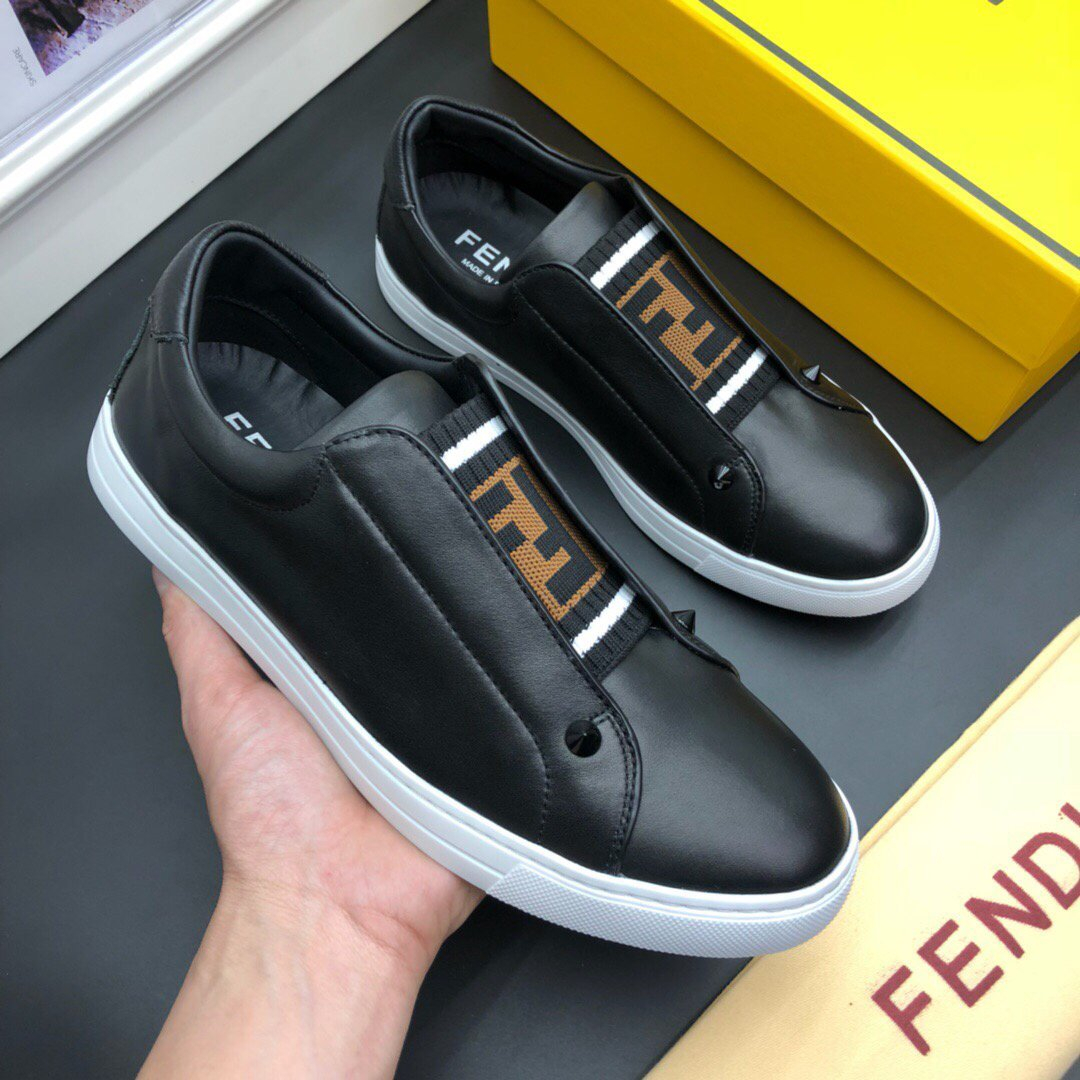 Image of Fendi Men's Leather Fashion Low Top Sneakers Shoes
