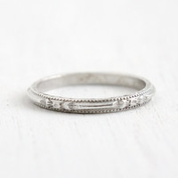 Antique Art Deco Sterling Silver Floral Orange Blossom Ring - Size 5 Flower Milgrain Eternity Wedding Band Signed Forget Me Not Jewelry