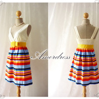 Summer Rainbow - Popping Stripe Chic Retro Cotton Summer Dress Party Colorful or Everyday Dress-S-M-