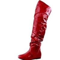 KRUSH GIRLZ — Faux leather Over the knee red flat boots