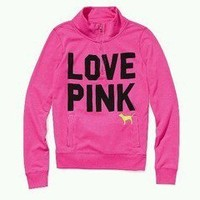 Victoria secret pink half zip pullover small new