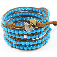 gifts for teens blue wrap bracelet beaded wrap bracelet boho bracelet teens jewelry gypsy bracelet biker bracelet women wrap bracelet