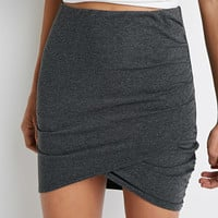 Ruched Tulip-Front Mini Skirt