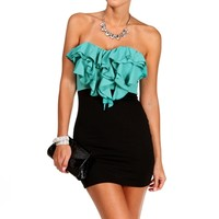 TealBlack Strapless Ruffle Short Dress