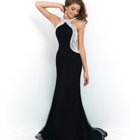 Black Halter White Stoned Open Back Gown