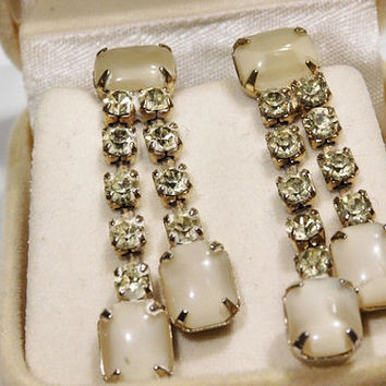 Vintage Rhinestone Dangle Earrings Moonglow Screw Back Mid Century 1950s Drop Chandelier Hollywood Wedding Bride Bridal Earrings Jewelry