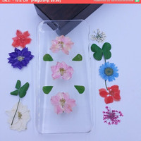 Pink flower iPhone 5C Case clear iPhone 6 Case iPhone 5S Case pressed flower iphone 5 case dried flower phone case real flower phone case