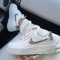 Nike Air Force 1 AF1 Women's low top board shoes deconstructed with beibai snake pattern