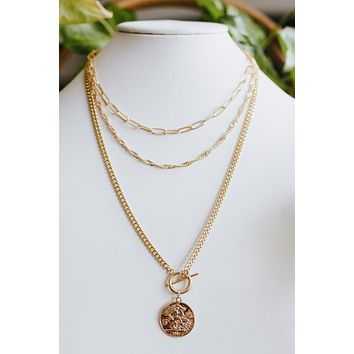 Multi Chain with Coin Pendant Necklace