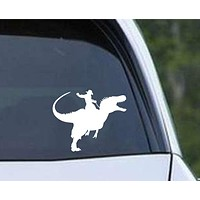 Dinosaur Raptor Cowboy Die Cut Vinyl Decal Sticker