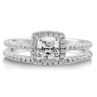 BERRICLE Sterling Silver Cushion Cut Cubic Zirconia CZ Halo Womens Engagement Wedding Ring Set