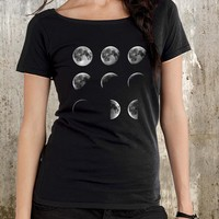 Moon Phases Scoop Neck T-Shirt