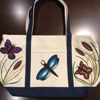 Zippered Tote Bag Hand Painted with Dragonfly and Butterflies